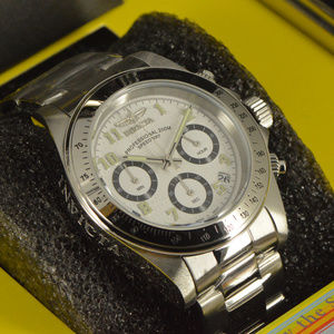 NEW Invicta Speedway Silver Tone Chronograph Watch
